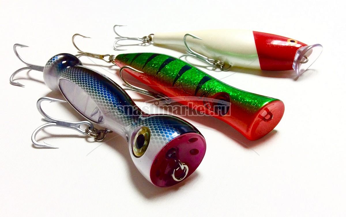Попперы для морской рыбалки, отличаются внушительным размером и отсутствием хвостового оперенья